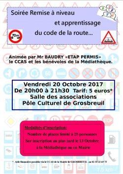 soiree code de la route 20 OCTOBRE 2017