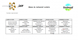 MENU RESTAURANT SCOLAIRE JUIN ET JUILLET 2020