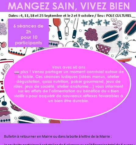 ATELIERS : MANGEZ SAIN