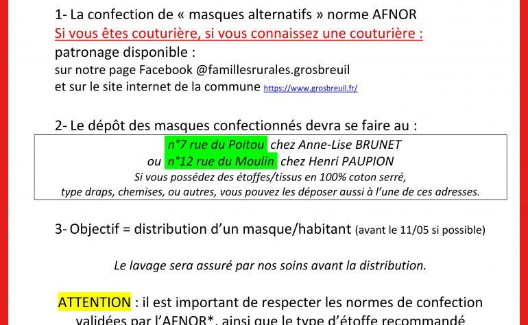 CONFECTION DE MASQUES