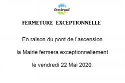 FERMETURE MAIRIE 22 05 2020