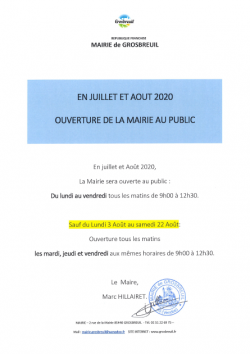 MAIRIE OUVERTURE