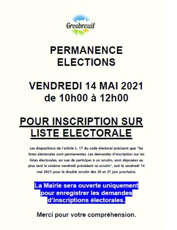 PERMANENCE ÉLECTIONS 14 MAI 2021
